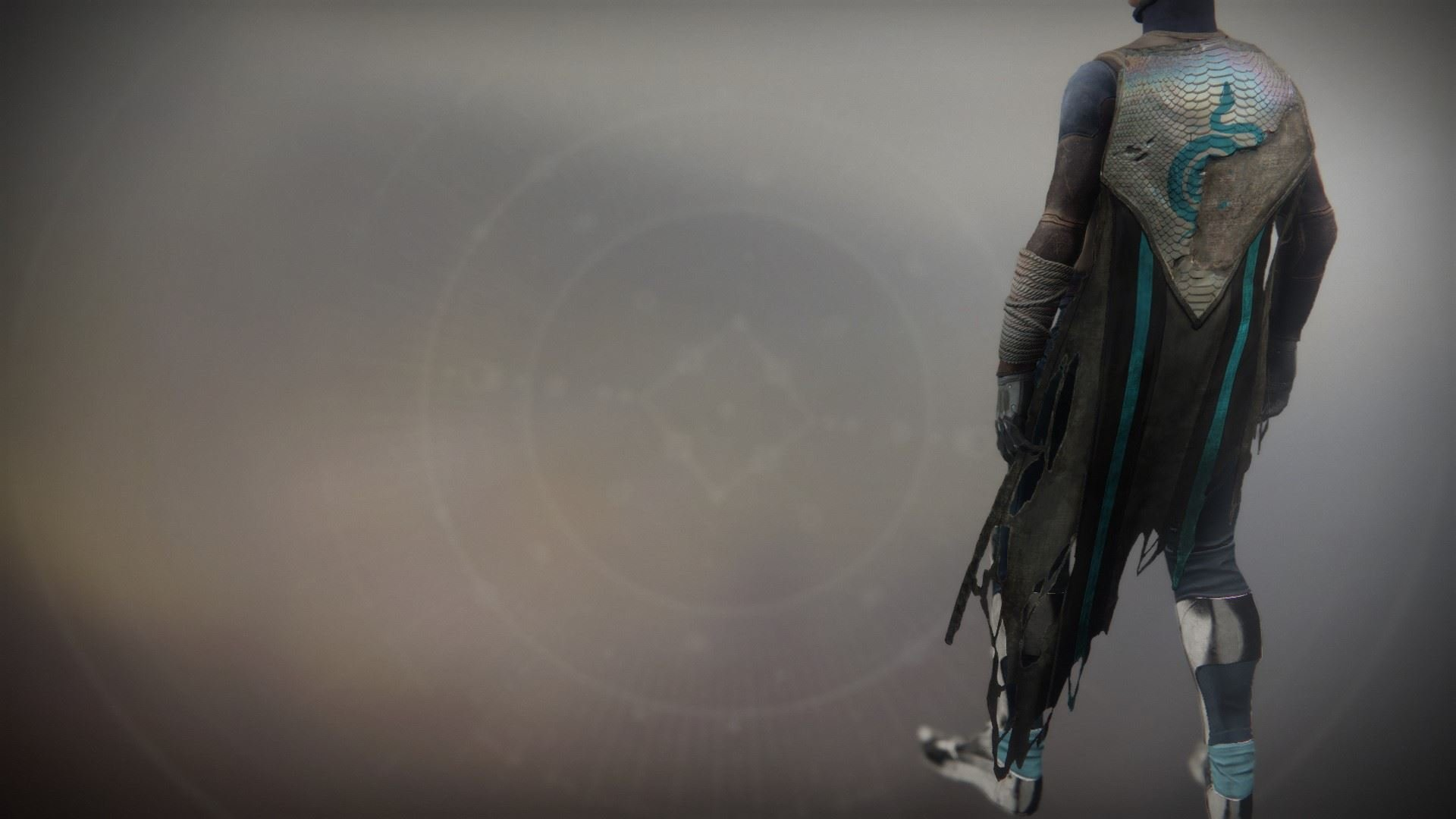 An in-game render of the Solstice Cloak (Scorched).