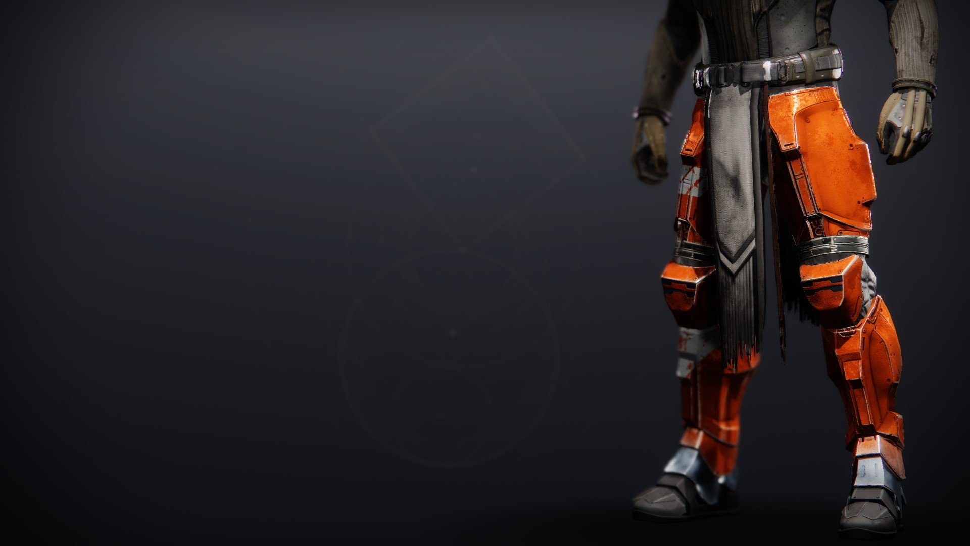 An in-game render of the Phobos Warden Greaves.