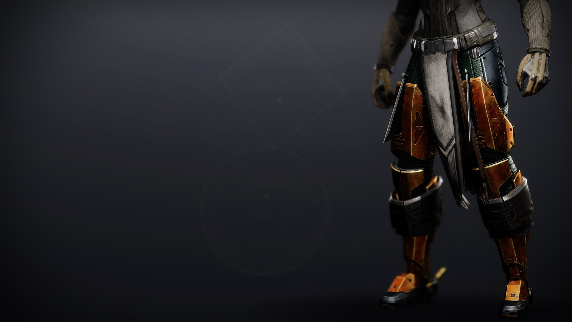 An in-game render of the Kabr's Forceful Greaves.