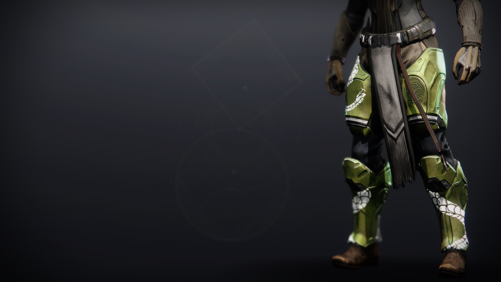 An in-game render of the Illicit Collector Greaves.