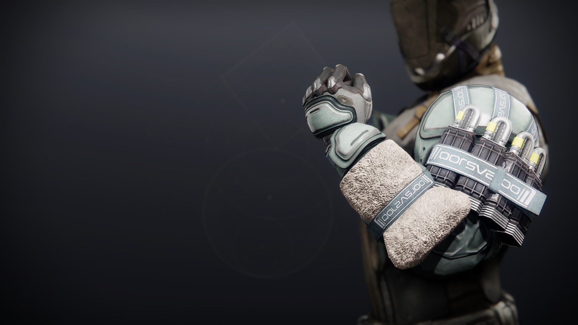 An in-game render of the Crystocrene Gauntlets.