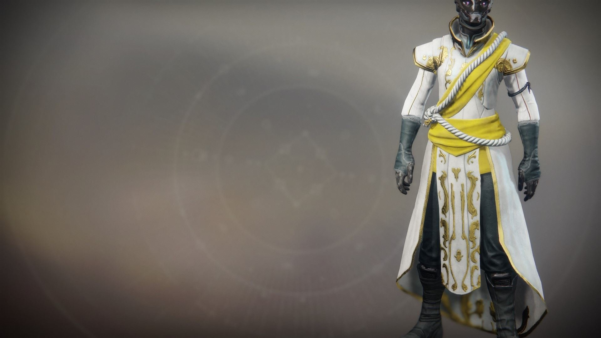 An in-game render of the Solstice Robes (Resplendent).