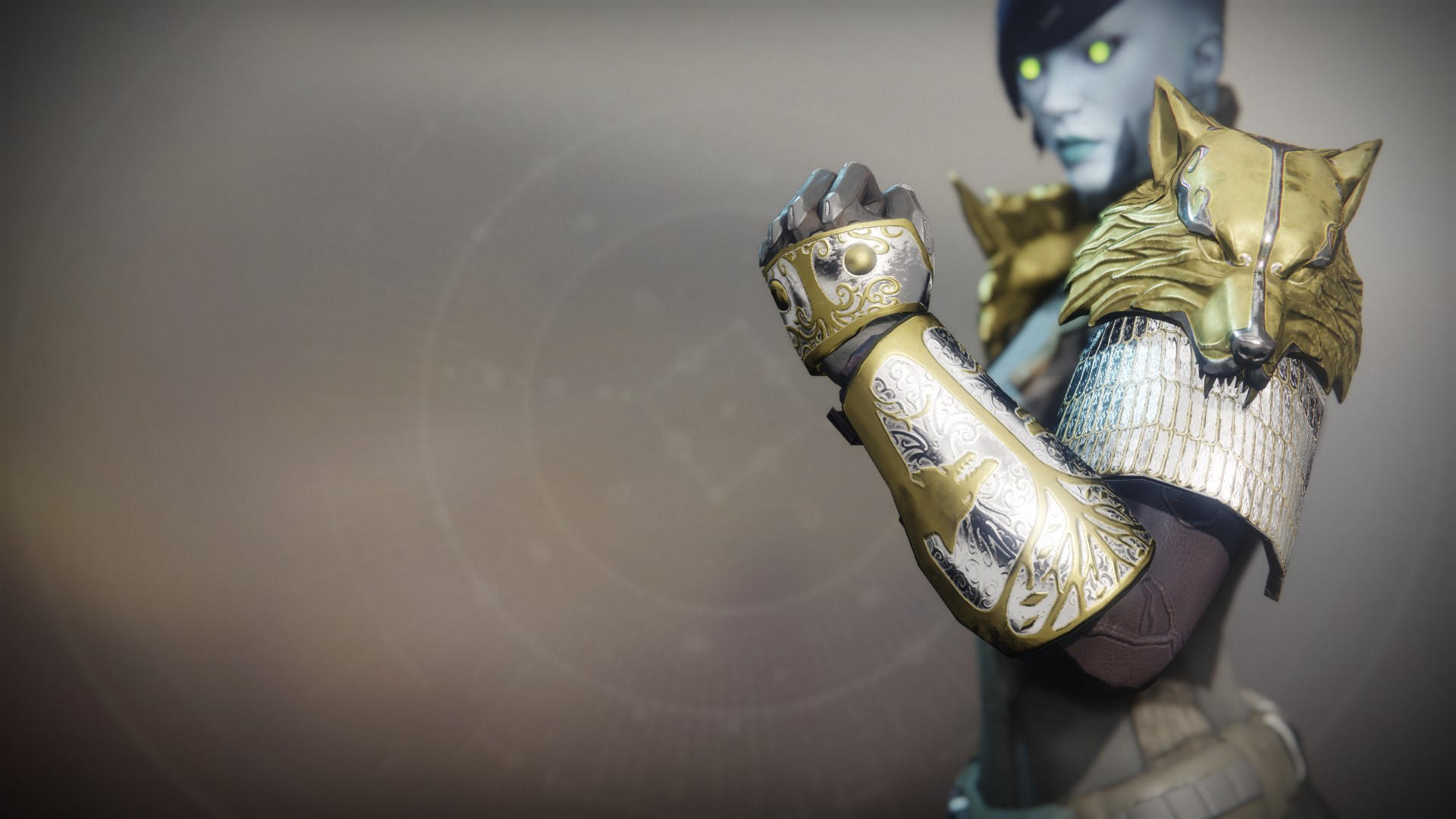 An in-game render of the Iron Truage Gauntlets.