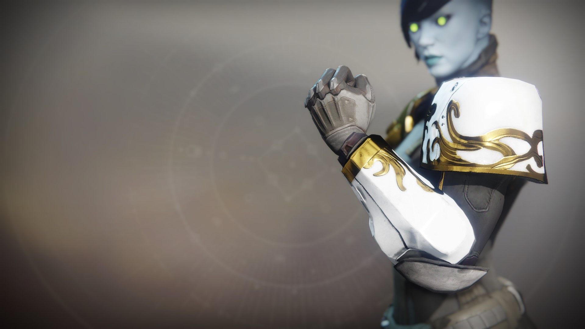 An in-game render of the Solstice Gauntlets (Majestic).