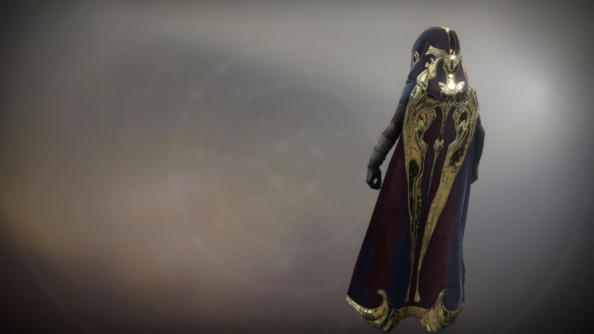 An in-game render of the Solstice Cloak (Majestic).