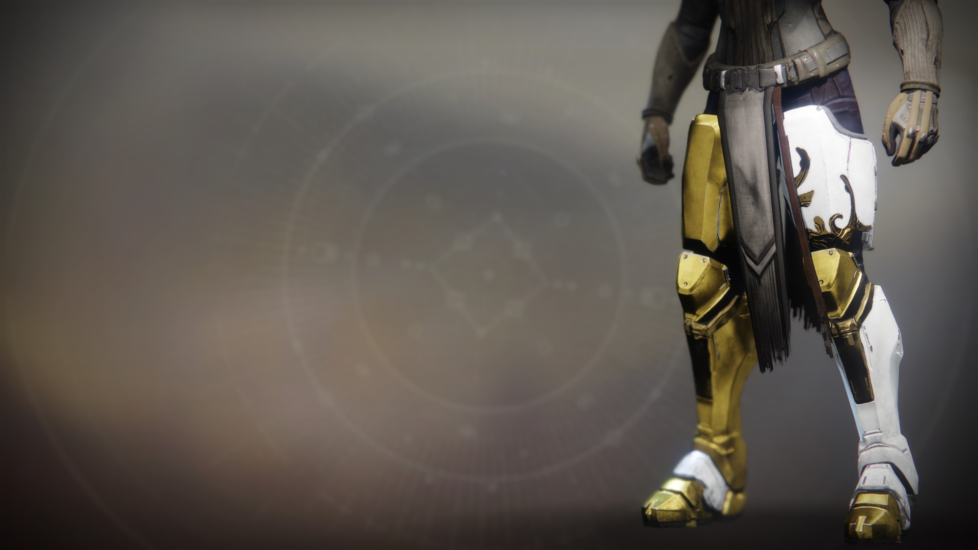 An in-game render of the Solstice Greaves (Majestic).