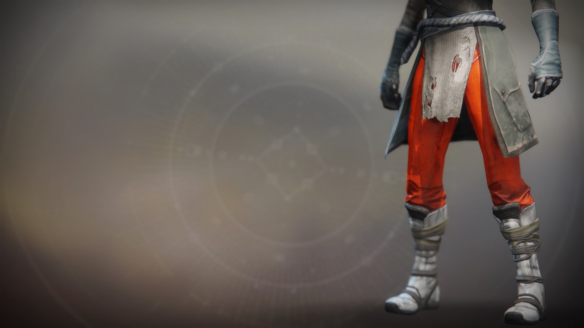 An in-game render of the Fire-Forged Warlock Leg Ornament.
