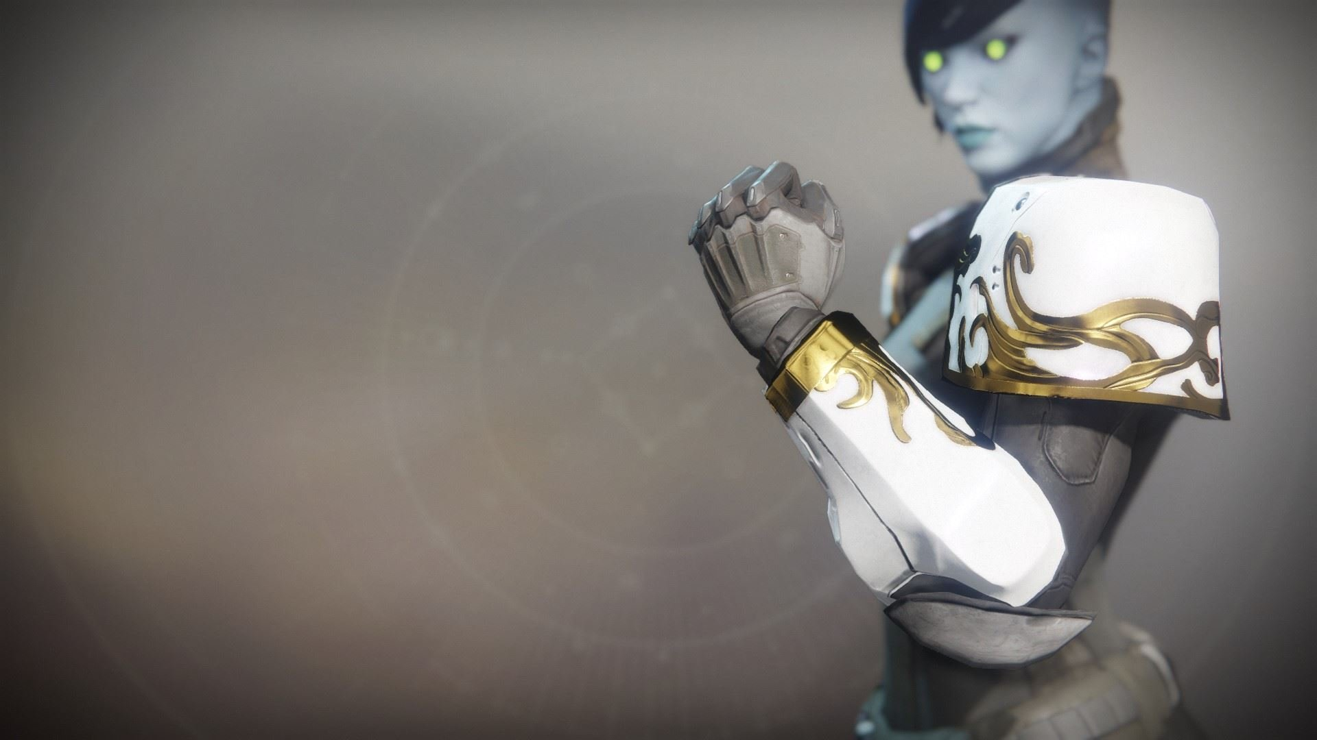 An in-game render of the Solstice Gauntlets (Resplendent).