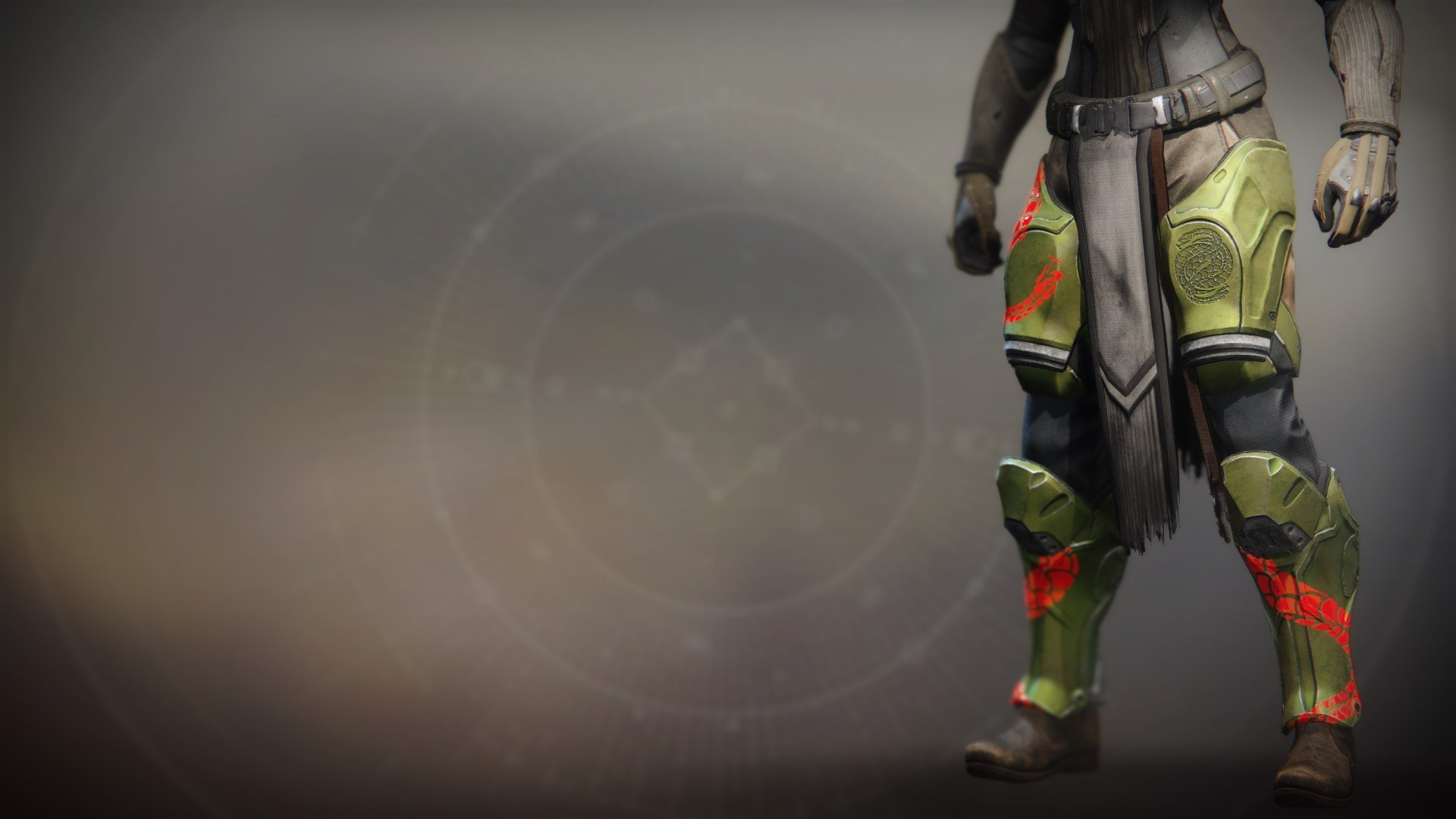 An in-game render of the Illicit Invader Greaves.