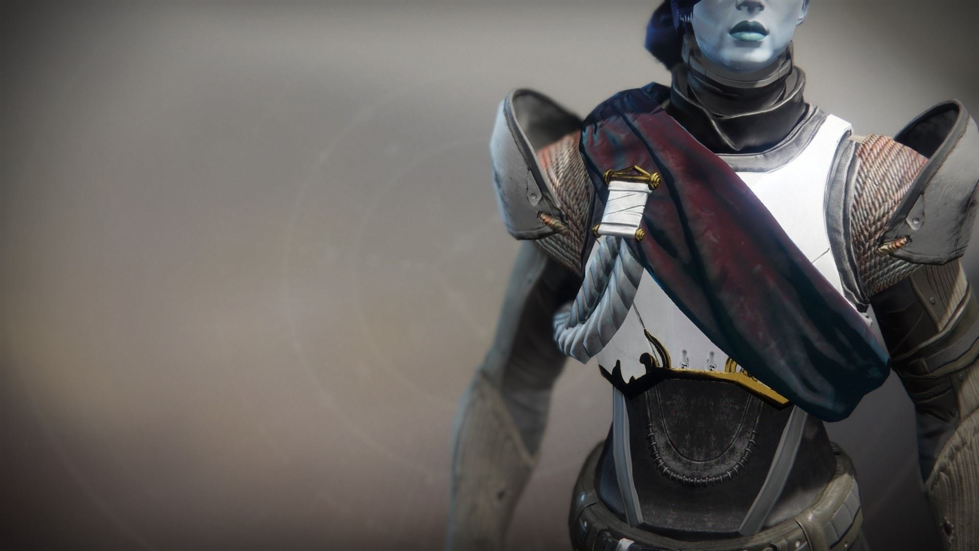 An in-game render of the Solstice Plate (Resplendent).