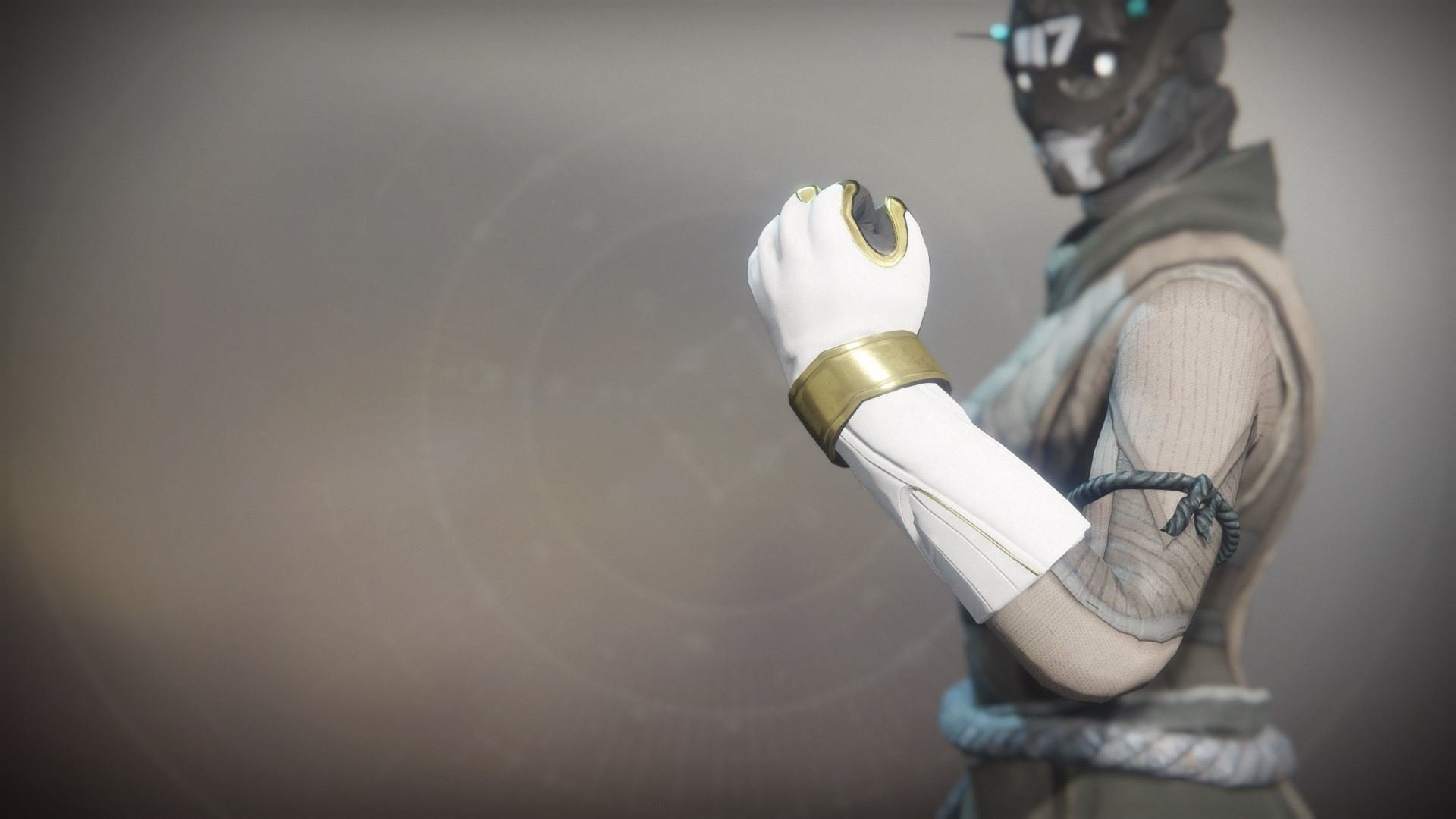 An in-game render of the Solstice Gloves (Resplendent).