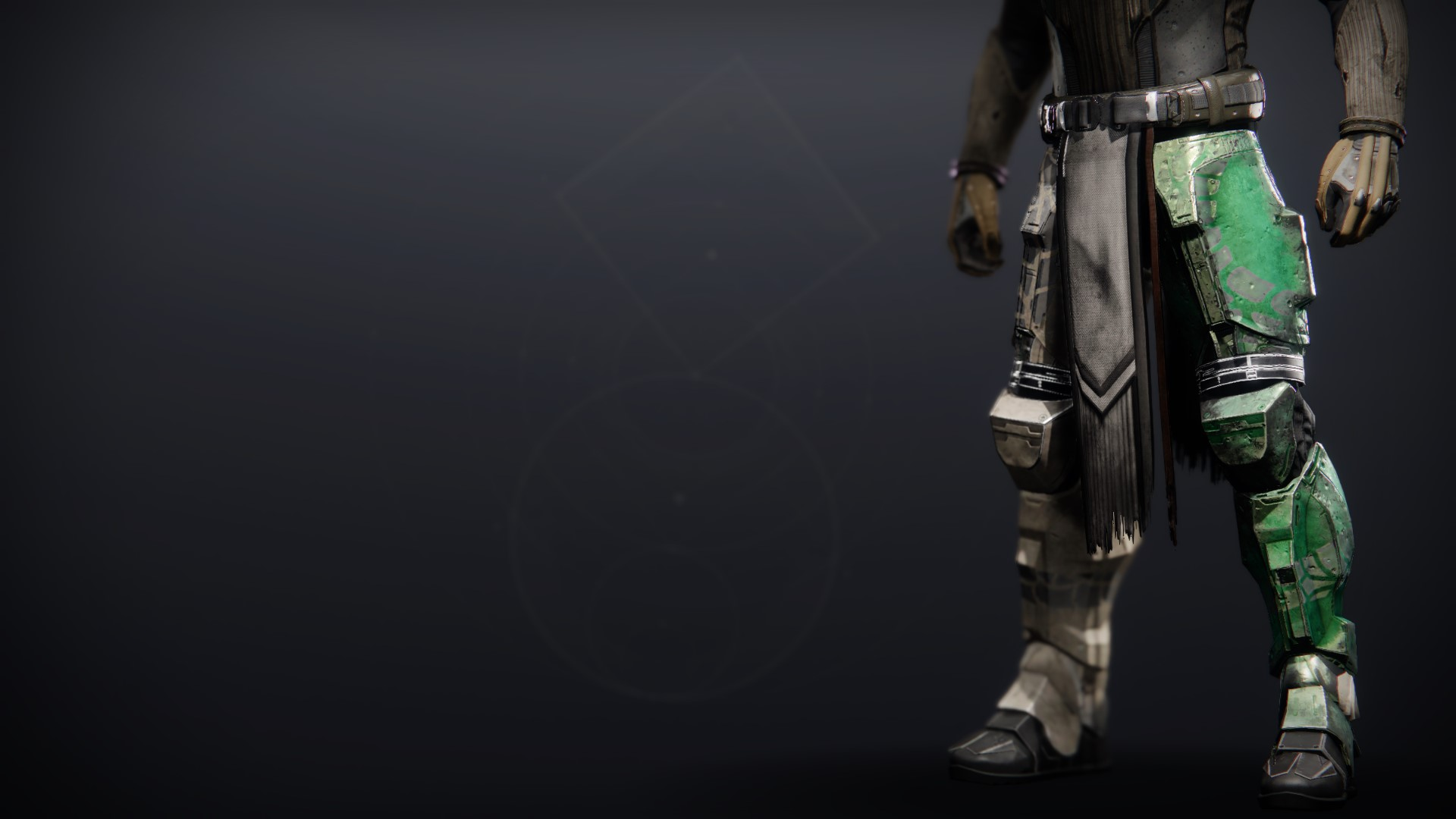 An in-game render of the Calamity Rig Greaves.